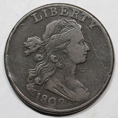 "1802 s-231 R1 Draped Bust ""Stemless Wreath"" Large Cent Coin 1c"