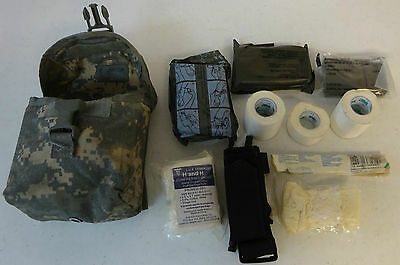 US Army Improved First Aid Kit ACU Pouch Gently Used With Medical Supplies