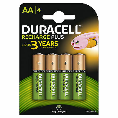 4 x Duracell AA 1300 mAh PRE/ STAY CHARGE Rechargeable Batteries NiMH HR6 phone