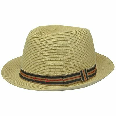 Peter Grimm Paper Beach Striped Fedora Trilby Small Medium Signature Hat  Stetson 469a0d21e51b