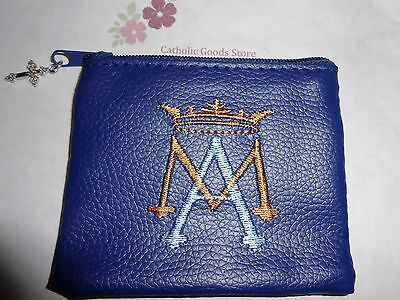 Soft Blue Ave Maria Embroidered Vinyl Zipper Rosary Case