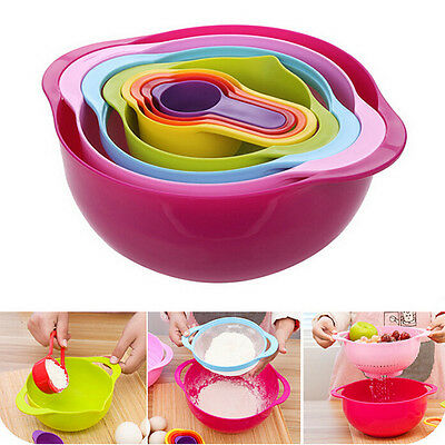 8 in 1 set Multicolor Kitchen Tool Mixing Measuring Bowl Measuring Cup Colander