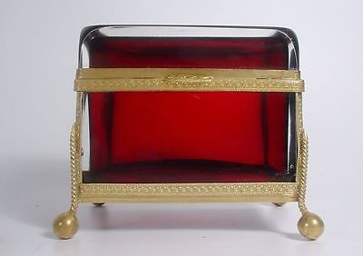 Antique French Ruby Casket Hinged Box