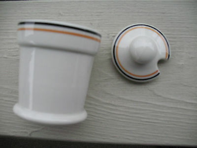 SYRACUSE CHINA Covered Mustard Cup with Black and Yellow Lines- 1952