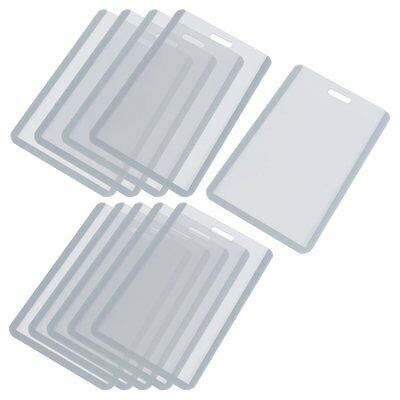 H1 Vertical Business ID Badge Card Holder, 10 Pcs, Gray Clear