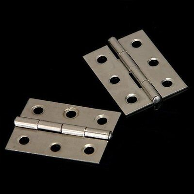 H1 2pcs Stainless Steel 2 Inch 4.4x3.1cm Cabinet Door Hinges Hardware