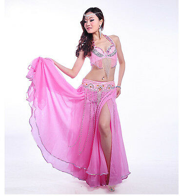 B & D CUP HOT Belly Dance Costume Outfit Set Bra Belt Carnival Bollywood 3PCS