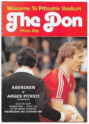 Aberdeen v Arges Pitesti, 1981/82 - UEFA Cup 2nd Rd Match Programme