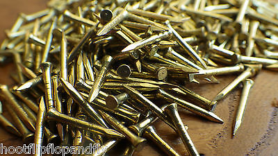 "50g 1/2"" 13mm ( APPROX 300 ) SOLID BRASS PANEL PINS NAILS TACKS TINY SHORT NOS"