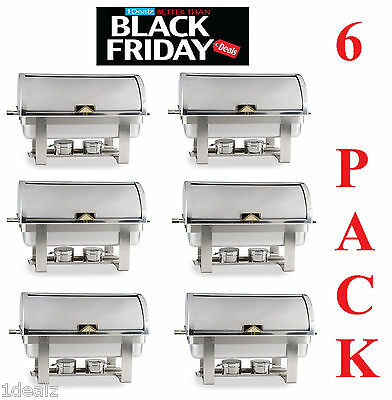 6 PACK FULL KIT 8 QT DELUXE ROLL TOP Chafer Stainless Chafing Dish FREE SHIP