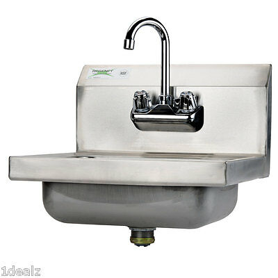 "Regency Select Wall Mounted NSF Hand Sink with Gooseneck Faucet 17"" x 15"" + bns"