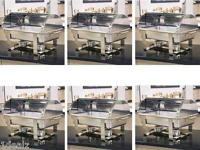 6 Roll Top Deluxe Full Size Rectangle 8 Qt. Stainless Steel Chafing Dishes +
