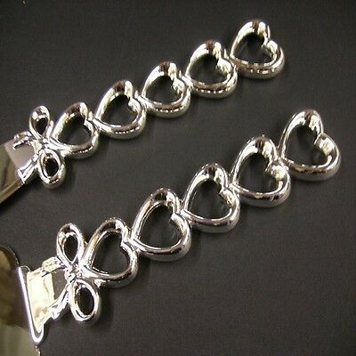 Wedding Bridal Cake Knife and Server Set Silver Stacked Hearts Handles with Bow