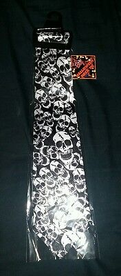 Necktie Halloween SKULLS HEADS WHITE & BLACK TIE BRAND NEW COSTUME ACCESSORY NWT
