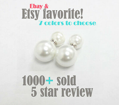 Shell Pearl Double Sided Earring Set on 925 Sterling Silver Backing
