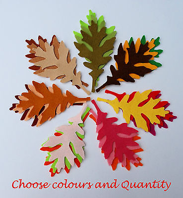 Felt Leaves Assorted Green Orange Brown Red Autumn Toppers Embellishment Craft