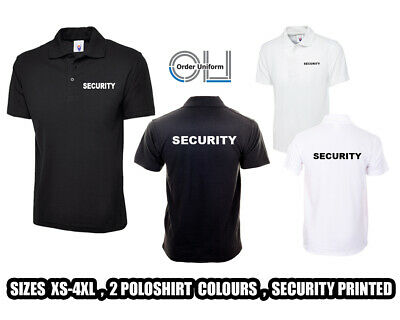 SECURITY Polo Shirt Black WorkWear Doorman Bodyguard Bouncer Guard sia XS-4XL
