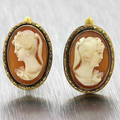 1880s Antique Victorian Estate 18k Solid Yellow Gold Carved Cameo Earrings