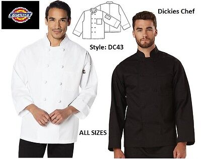 NEW Dickies Chef  Coats Classic Knot Button in Black & White FREE SHIPPING!!!