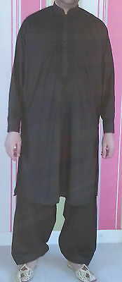 Men's Embroidered Indian Pakistani Punjabi Black/White Kurta Salwar Suit, S-XXXL