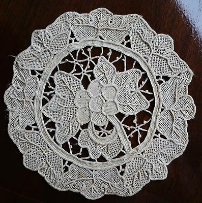 10 hand made  Antique Italian GROS POINT VENISE Needle Lace GORGEOUS Detail