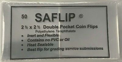 Coin Collecting Flips Saflip Saflips 2.5 x 2.5 Mylar Archival 50 Pack Free US SH