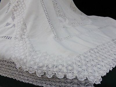 Antique Linen Tablecloth-Elaborate Teneriffe Lace-Rectangular-102""