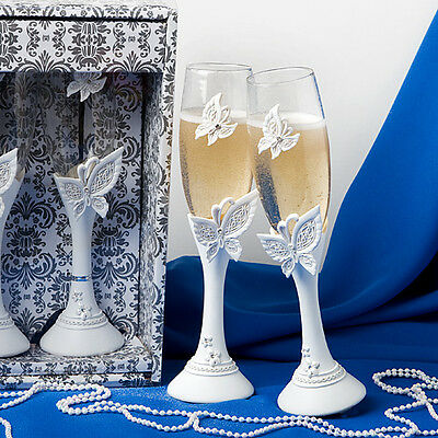 Wedding Bride and Groom Toasting Champagne Flutes Glasses - Pack of 2