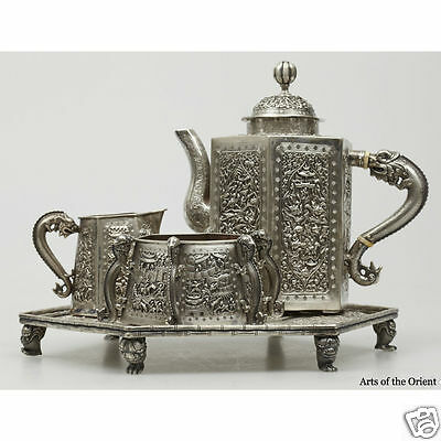 Antique Chinese China Export Solid Silver Tea Set Pot Bowl Creamer Tray 1850