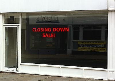 CLOSING DOWN SALE Sign for Shop, Various Vinyl Colours. Shop Front Sticker