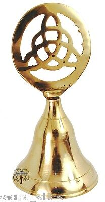 Brass Celtic Triquetra Bell 10cm ~ Wicca Altar Ritual tool