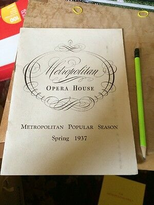 Historic Vintage Metropolitan Opera House Program New York History 1937