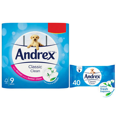 Andrex Toilet Roll 9pk x 5 & 42 x 5 Washlets Twin Andrex PACK OFFER
