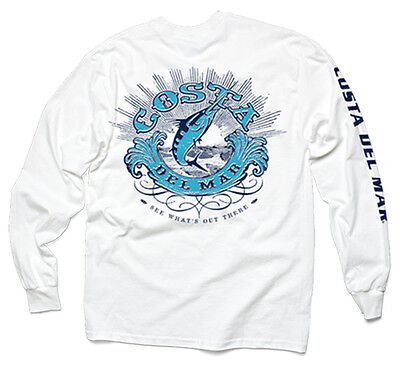 Costa Del Mar Classic Long Sleeve T-shirt- White- Pick Size-Free Ship