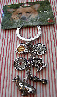 Little Gifts Corgi Puppy Dog Key Chain With 6 Charms **sweet**