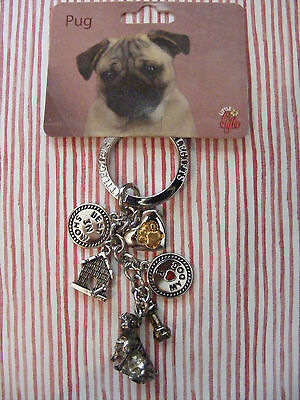 Little Gifts Pug Key Chain With 6 Charms For The Puppy Dog Lover