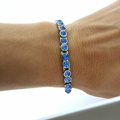 Ladie's Elegant Full Bio Magnetic Bracelet  With Blue Zircon Stones Mz1