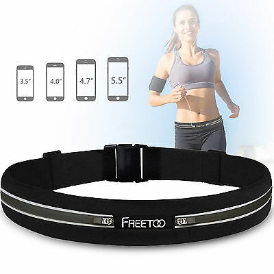 Running Belt Compact Elastic Freetoo Waist Pack Travel Hiking Reflective Bag