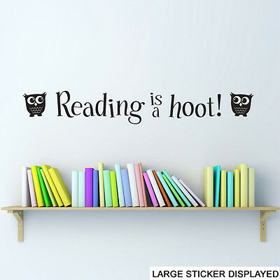 Reading is a Hoot Wall Vinyl Stickers Learning Read Books Transfer Mural Decal