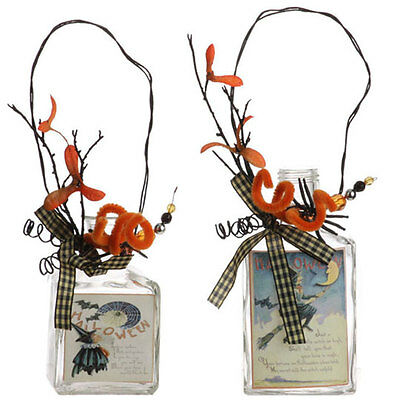 H3102474 RETIRED RAZ Halloween Vintage Witch Potion Glass Bottle Set/2