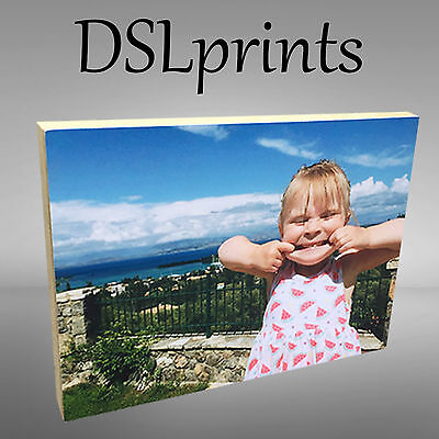 """Personalised Photo Block Wooden Free Standing 6x4"""" 7x5"""" Picture Home Decor Gift"""