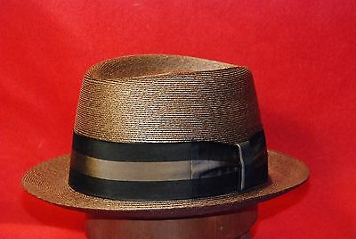 Fedora Brown Straw Cavanagh Men's Hat with Black and Grey Band Size 7 1/8""