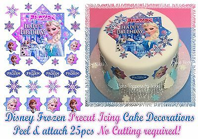 Edible Icing FROZEN ELSA Cake Topper Decorations *PRECUT* No Cutting EASY PEEL