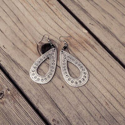 African Jewelry Recycled Aluminium Hand Hammered Tear Drop Earrings 213-104