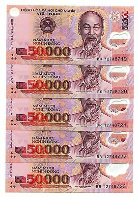 Vietnam Banknote 5 pcs x 50,000 50000 Dong Polymer Currency Pick 121, UNC