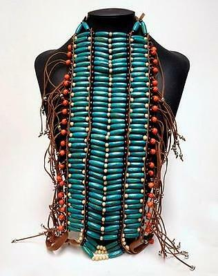 ETHNIC TRIBAL INDIAN NATIVE AMERICAN Blue Beaded Plastic BREAST PLATE BODY WEAR