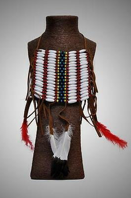 ETHNIC TRIBAL INDIAN NATIVE AMERICAN Beaded Plastic Feather BREASTPLATE BODYWEAR