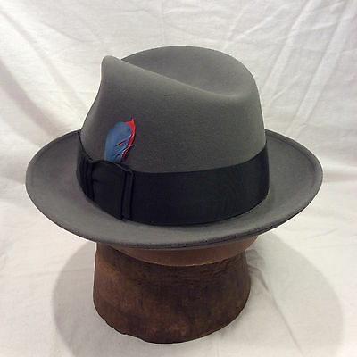 Charcoal Grey Dobbs Fedora Men's Hat with Black Band Vintage-- Size 6 7/8