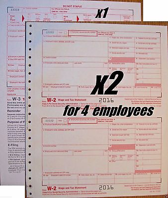 2016 IRS TAX Form W-2 Wage Stmts carbonless, 4 employees (2 sheets) + 1  Form W-3