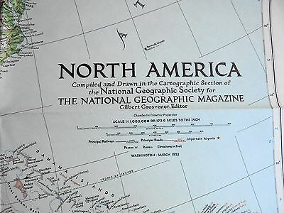 Old School Wall Map- North America 1952 - National Geographic